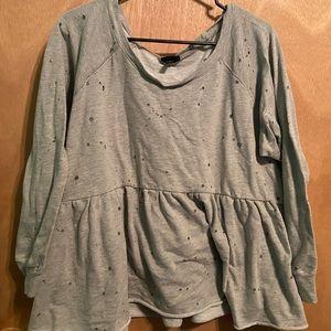Gray sweatshirt blouse